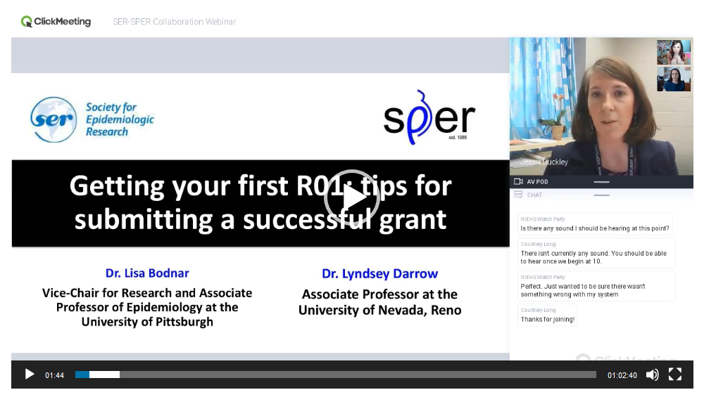 "SER-SPER Collaboration - ""Getting your first R01: tips for submitting a successful grant"""